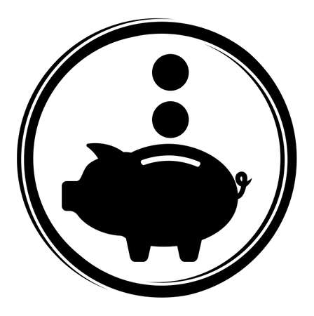 cartoon bank: Piggy bank icon