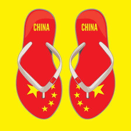 chinese flag: China flip flop sandals