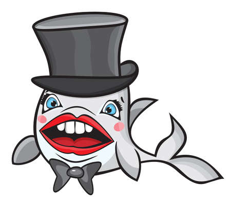 Cute cartoon fish with hat Vector