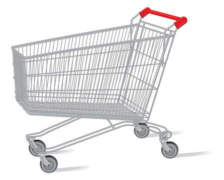 isolated shopping cart on the white Stock Vector - 18302724