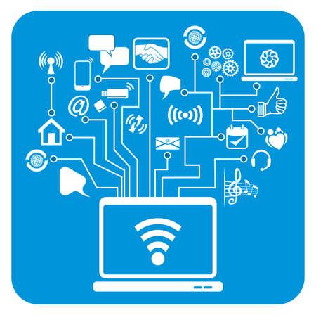 global communication, social media network Vector