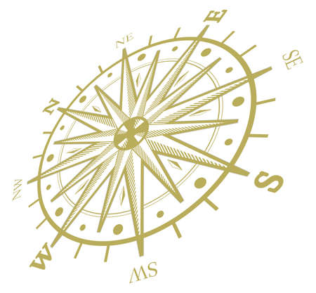 Black wind rose compass isolated on white