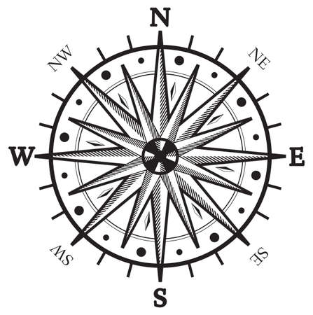 Black wind rose compass isolated on white Vector