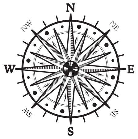 rosa dei venti: Vento nero Bussola di rosa isolato su bianco
