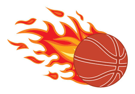 fast ball: basketball ball in fire