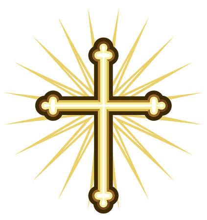kruzifix: Goldenes Kreuz Illustration