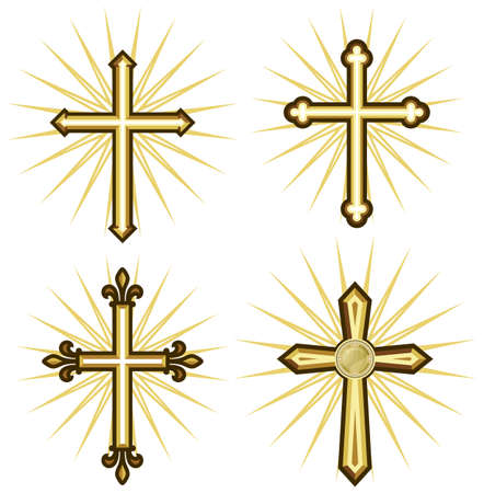 gold cross: Golden cross collection Illustration