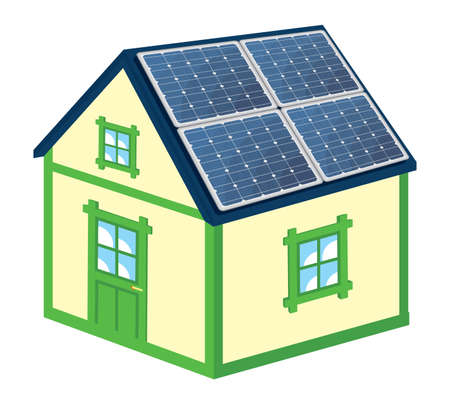 solar roof: House with solar panels Illustration