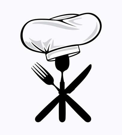 cuchara y tenedor: cocinero sombrero con cuchara, tenedor y cuchillo