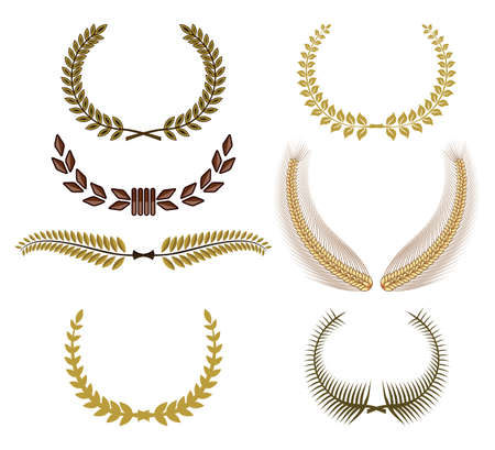 laurel branch: Set of laurel wreaths for design Illustration
