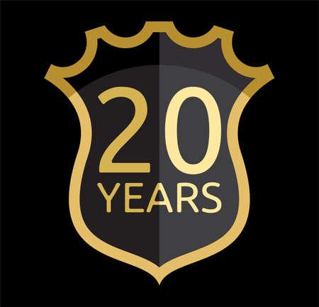 Golden shield 20 years Stock Vector - 18355852
