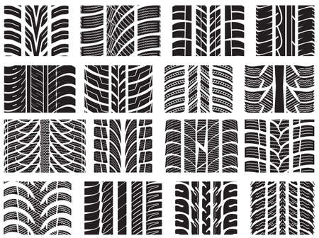 Set of various tyre treads Stock Vector - 18442118