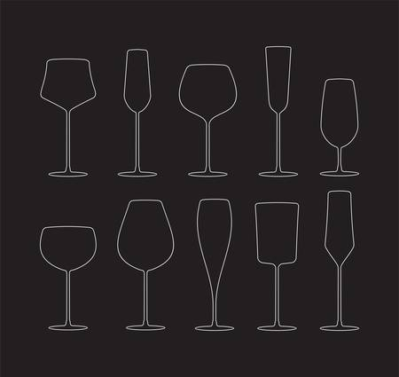 brandy glass: collection of black wine glasses silhouettes Illustration