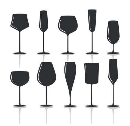martini glass: collection of black wine glasses silhouettes Illustration