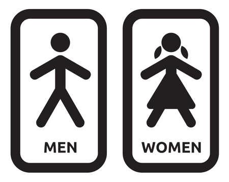 washroom: El hombre y la mujer wc signo Vectores