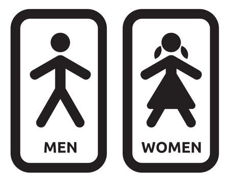 washroom: Man and women wc sign Illustration