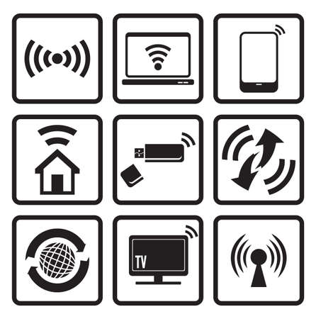 Wireless technology web icons set Stock Vector - 18733821