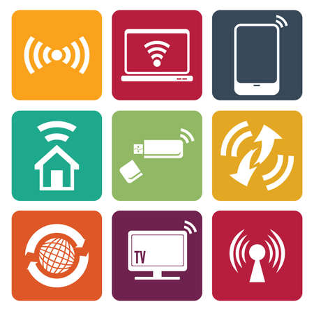 Wireless technology web icons set Stock Vector - 18502189