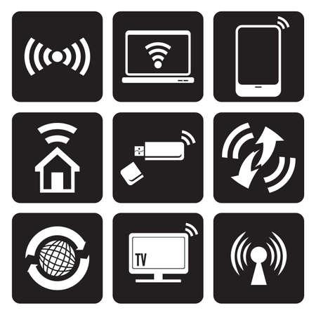 Wireless technology web icons set Stock Vector - 18442044