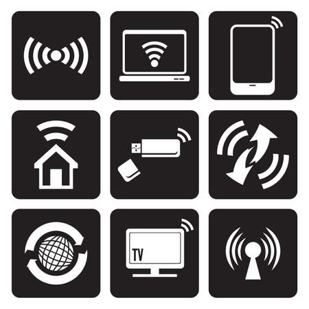 wireless signal: Wireless technology web icons set