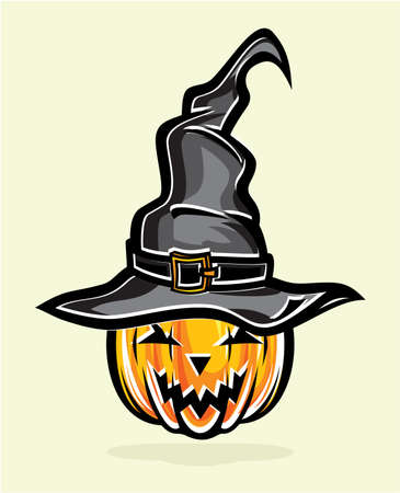tall hat: illustration of tall witch hat and pumpkin