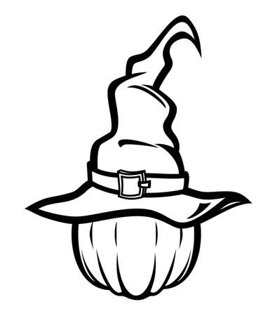 illustration of tall witch hat and pumpkin Stock Vector - 18502190
