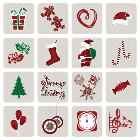 Set of icons for New Year and Christmas Vector
