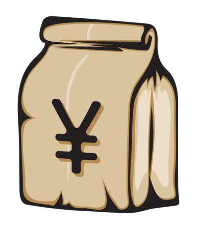 yen sign: Bolsa de papel con el dinero signo del yen japon�s