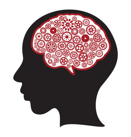 Woman silhouette with thinking brain gears in her head Vector