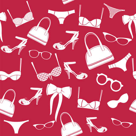 seamless fashion accessories pattern Vector