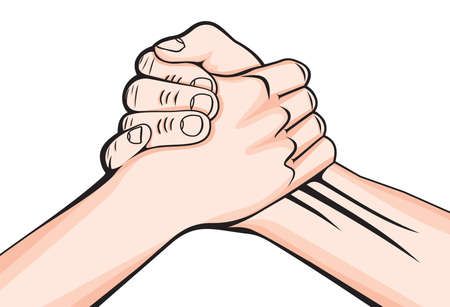 pact: handshake two male hands Illustration
