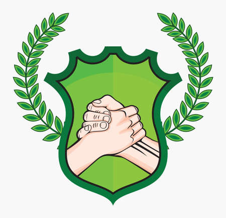 handshake eco symbol Stock Vector - 18689200