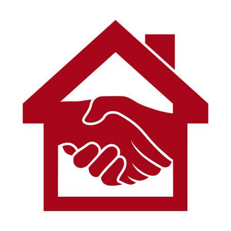 реальный: Рукопожатие и успешных сделок с недвижимостью Иллюстрация