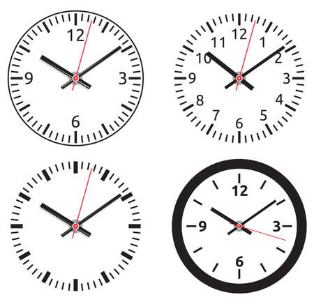 object with face: Clock collection Illustration