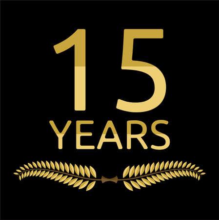 gold seal: laurel wreath 15 years Illustration