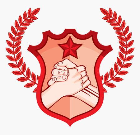 la union hace la fuerza: apretón de manos símbolo soviet símbolo