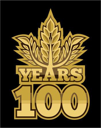 laurel wreath 100 years Stock Vector - 18502210