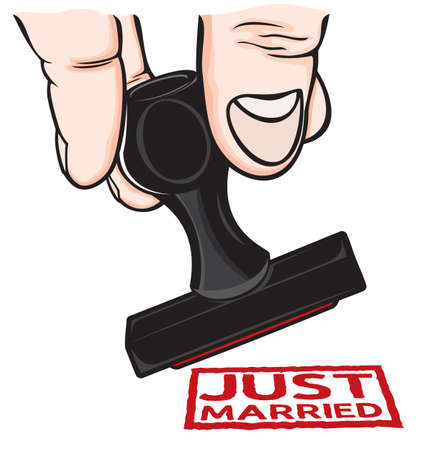 honeymoon couple: Rubber stamp Just married Illustration