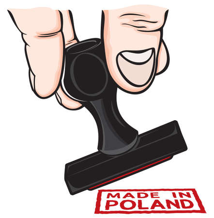 Hand and stamp Made in Poland Vector