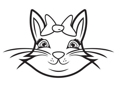 Cute cat black and white Vector