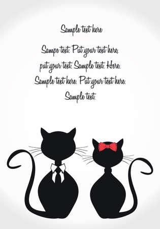 Negro gatos tarjeta de plantilla