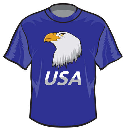 Retro basic T-shirt with USA eagle print Stock Vector - 18502227