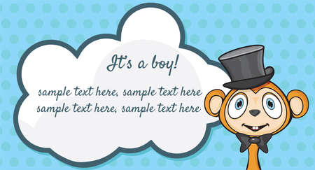 It s A Boy  Arrival announcement card Vector