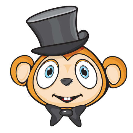 scratching: Cute monkey with hat and bow