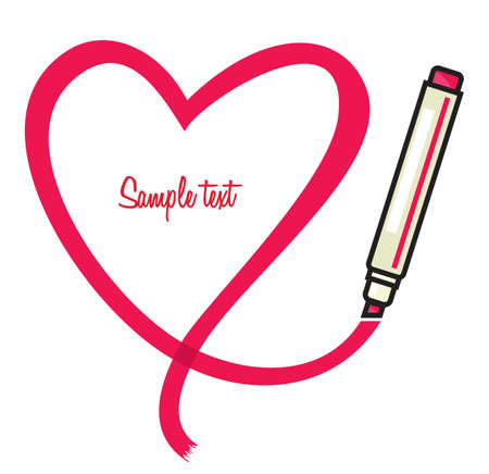 Marker with heart shape Vector