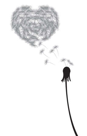 dandelion wind: dandelion heart shape Illustration