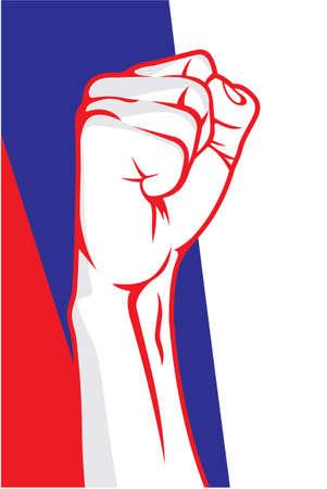 serbia flag: Serbia fist