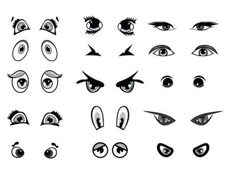 lash: cartoon vector illustration eyes collection Illustration