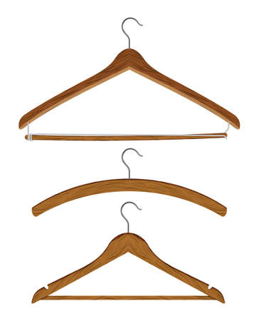 wooden clothes hanger set Vector