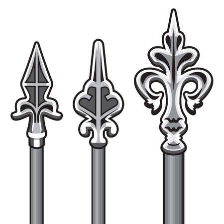 iron gate: Wrought iron fence detail Illustration